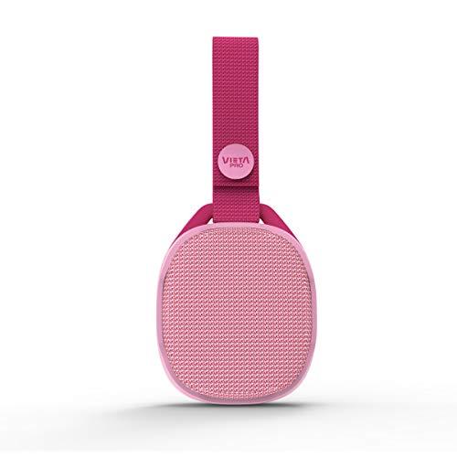 Vieta Pro Altavoz Kids - Altavoz portátil, Bluetooth 5.0, Radio FM, Reproductor USB, Micrófono, entrada aux-in, resistencia al agua IPX7, función true wireless, 5 horas de autonomía. Acabado en rosa