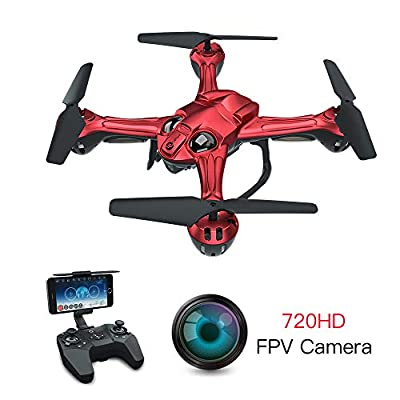 LEFANT Drone with Camera 720P, Optical Flow FPV Drones, Live Video Selfie Quadcopter , RC WiFi Helicopter, Gravity Sensor, Route Planning, Auto Hovering, VR Mode for Pro, Adult, Kids, Beginners (Red)