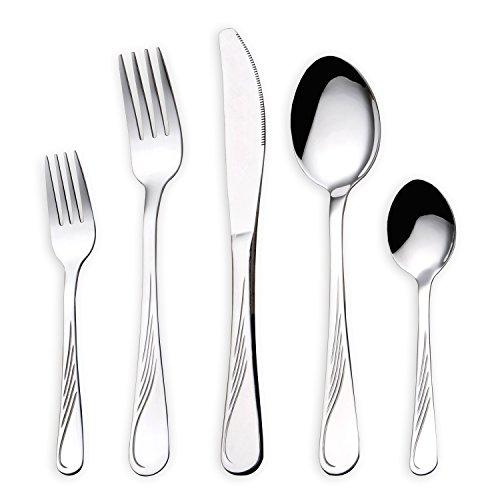 HOMQUEN Set di Posate in Acciaio Inossidabile 30 Pezzi, Set di Posate in Argento, cucchiai di forchette per coltelli impostati per 6 Persone (Posate, 6 Set)