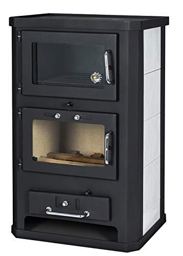 Estufa de leña con horno de 10/15 kW de potencia de calefacción para salida de chimenea trasera