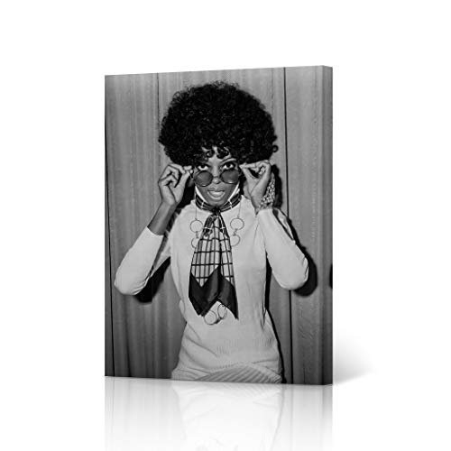 HB Art Design Diana Ross in an Afro in 1968 Black and White Canvas Wall Art Print Beautiful African American Art Icon Artwork Living Room Bedroom Decor Home Decor Made in USA 36x24