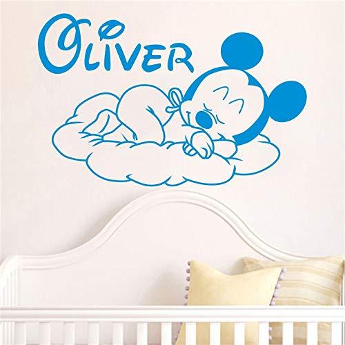 Tianpengyuanshuai Angepasste Kinder Name Kreative Karikatur Neue Gute Nacht Baby Vinyl Wandaufkleber 68X45cm