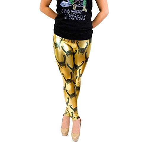 Loki All Over Helmet Print Gold Foil Leggings (Juniors XS)
