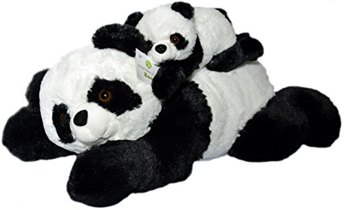 Super Soft Panda Bears Stuffed Animals Set by Exceptional Home Zoo. 18 inch Pandas with Baby Teddy Bear Cub. Kids Toys Plush Animal Gifts for Children. Give Happiness