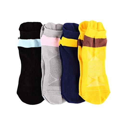 IMIKEYA 4 Pares de Calcetines de Yoga Antideslizantes Calcetines de Algodón Antideslizantes Pilates Otoño Invierno Barre Bikram Calcetines de Fitness con Agarres para Mujer Negro Gris Azul Oscuro Amarillo