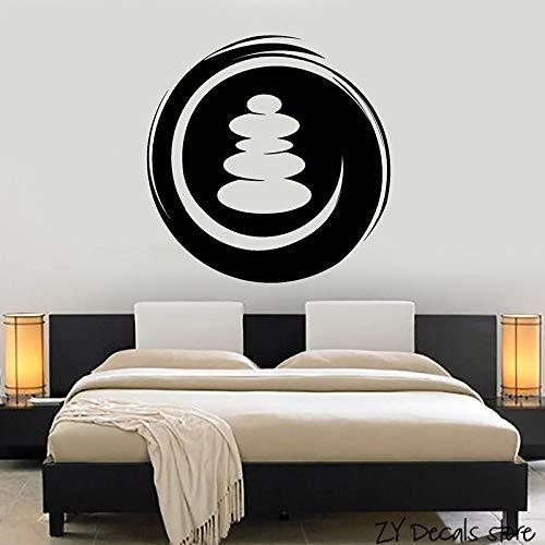 Tianpengyuanshuai Salon buddhistische Wandaufkleber Runde Zen Wandtattoos Abnehmbare Abziehbilder Yoga Studio Wandkunst-63X66cm
