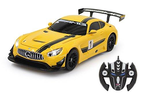 Jamara 410029 - Mercedes AMG GT3 1:14 transformable 2,4GHz gelb - RC Transformation zum Roboter auf Knopfdruck, Tanzmodus, Lautsprecher, Einzelradaufhängung, bis zu 1 Stunde Fahrzeit, LED Licht