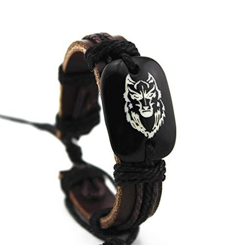 Zuoye Viking - Pulsera de piel con símbolo de lobo de Fenrir nórdico, para hombres y mujeres