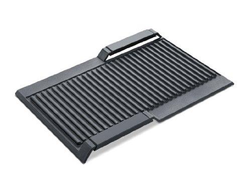 Bosch HEZ390522 Zubehör für Kochfelder / Grillplatte / Made in Germany / für FlexZonen und CombiZonen / induktionsgeeignet / 37 x 25 cm / Keramikbeschichtung / Aluminium