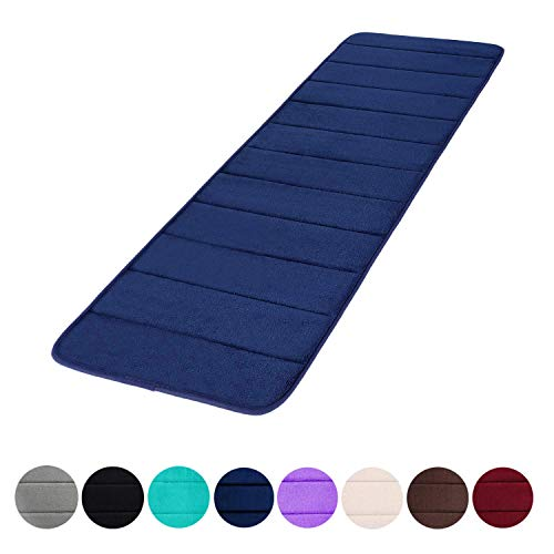Memory Foam Soft Bath Mats - Non Slip Absorbent Bathroom Rugs Rubber Back Runner Mat for Kitchen Bathroom Floors 16'x47', Navy Blue