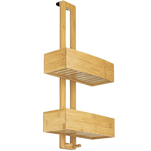 ONVAYA® Estante de la ducha sin perforar | de bambú | Estante de baño para colgar | Plato de...