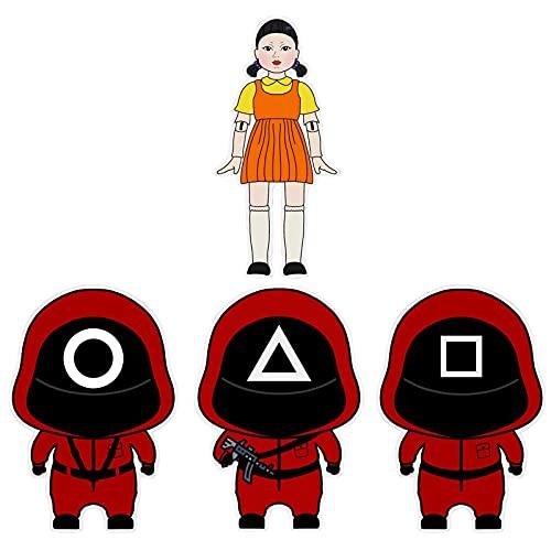 AILIEE 4 pc Autocollant de décoration de personnage de dessin animé créatif de Décalcomanie Noël Anime Stickers de mode de rue ordinateur,Snowboard,Voitures, vélo, Bagages Autocollants (A, Onesize)