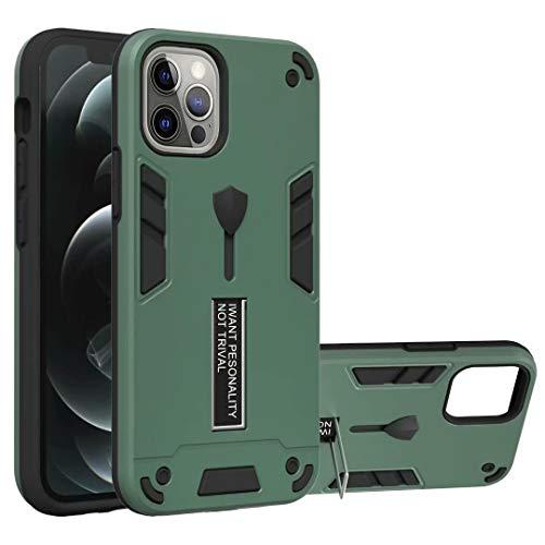 Hülle Case für iPhone 12 Mini Handyhülle Hybrid 2 in1 TPU+PC Handytasche Schutzhülle Rugged Armor Case Cover Dual Layer Bumper Schale Backcover mit Ständer für iPhone 12 Mini Grün