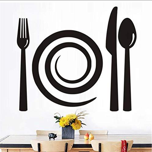 zxwd Gabel Messer Löffel Wandtattoos Abnehmbare PvcWandbild Küche Bäckerei Schaufenster Vitrine Wandaufkleber Home Decor44X38Cm