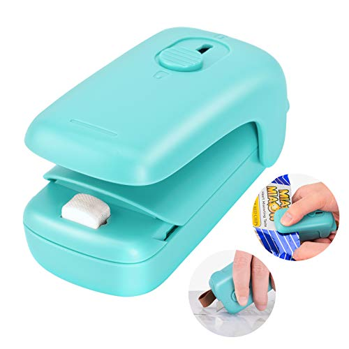 Mini Bag Sealer Portable Heat Sealer 2 in 1 Food Sealer and Cutter Handheld Vacuum Sealer Machines Quick Seal for Plastic Bags Chips Slice Snack Cookies Storage and Fresh No need Clips Green