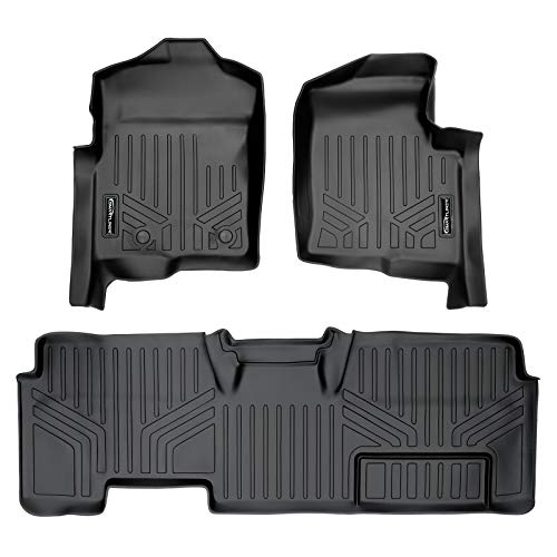 MAXLINER Floor Mats 2 Row Liner Set Black for 2011-2014 Ford F-150 SuperCab Non Flow Center Console
