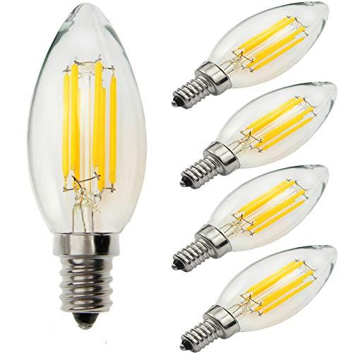 Yiun C35 E14 Candela lampadine LED 6W, 60W ad incandescenza lampadine equivalenti, Daylight Bianco 4000K, Dimmerabile, 600Lm, Lampadina LED, piccole vite Edison candela lampadine, 5-Pack