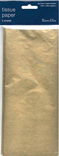Simon Elvin Lot de feuilles de papier de soie pour emballage cadeau 3 Sheets 3 GOLD