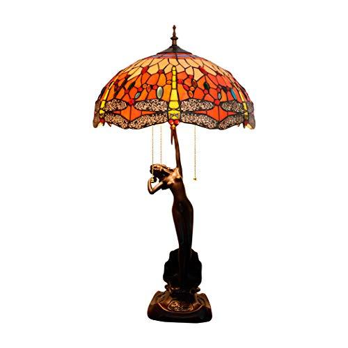 ZJRHM Tiffany tafellamp in de stijl 30 inch hoogglans glas libellula van Christallo Ombra Accent antiek Fine Art nachtkastje tafellamp decoratie slaapkamer