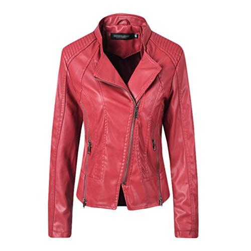 Donna Ecopelle Pu Giacca da Moto Outwear Colore Solido Manica Lunga Risvolto Cerniera Giubbotto Cappotto Rosso M