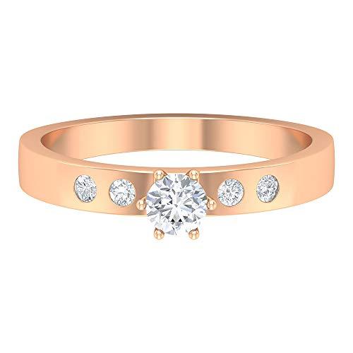 Anillo de boda solitario, anillo de compromiso, anillo nupcial único, anillo HI-SI 0,35 quilates redondo de diamante, anillo de aniversario, anillo de promesa, 10K Oro rosa, Size:EU 69