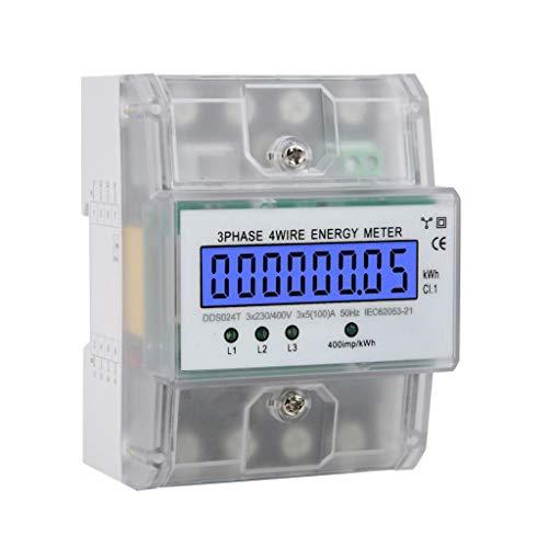 Stromzähler 220 / 380V 5-80A Energieverbrauch Digitaler Stromzähler Wechselstromzähler 3-Phasen 4-Draht KWh Zähler mit LCD Zwischenzähler Wechselstromzähler für Leistungsmesssystemen