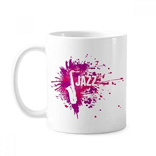 Taza de cerámica con diseño de saxo de jazz y cultura musical