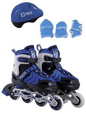 Calma Dragon Patines en Linea Ajustables, Profesionales para Adultos y Niños, con Protección incluida, 4 Ruedas, Skates (Azul, L)