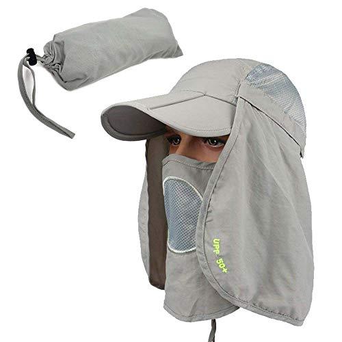 NGD Gorra con Proteccion de Cuello Bloqueador de Sol UPF 50 Pesca Camping Senderismo Campismo (Gris…