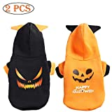 SEIS 2 Packs Halloween Devil Dog Hoodies with Hat Funny Cat Clothes Pumpkin