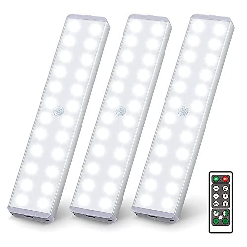 Uooser LED Unterbauleuchte mit Bewegungsmelder Fernbedienung 3 Stück Küche 24er LEDs Sensor Leiste Dimmbar Lichtleiste USB Wiederaufladbar Nachtlicht Schrankbeleuchtung Neutralweiß Kleiderschrank