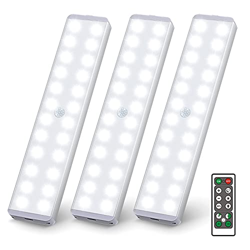 LED Closet Light, 24 LED Under Cabinet Lights with Remote, Dimmable Motion Sensor Closet Safe Lighting Bar Stick-on Anywhere Wireless Led Lights for Stairs Counter Kitchen (3 Packs)