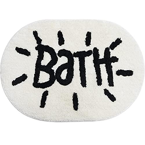 White Bathroom Rugs and Mat Oval Cute Bath Mat for Bathtub Cartoon Bathroom...