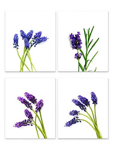 Lavender Wall Art, 8'x10' Set of Four, Unframed Botanical Art Print - Stunning Purple Flower Decor for Kitchen, Bedroom, Office, Bathroom, Home
