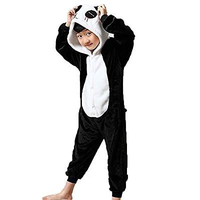 Conjunto de pijama-disfraz, mameluco, de animal, franela, para niña o niño, regalo de Navidad panda Hauteur 120-130 cm(Etiquette Talla 105)
