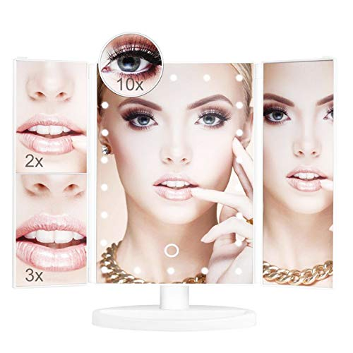 BHUZZLE Makeup Mirror with Lights, 22 LED Lights Adjustable Vanity Mirror with Touch Screen, Magnification Tri-Fold 2X 3X 10X Magnifying, 180° Free Rotation, Dressing table LED Mirror