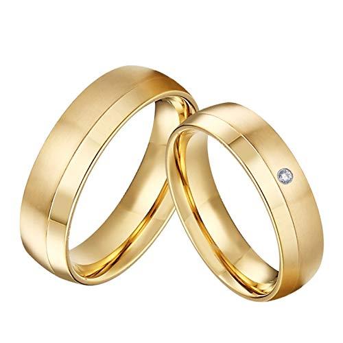 TLBB 1 par de Aros de Boda de Matrimonio Chapado en Oro de 18 quilados para Parejas Anillo de Dedo de la joyería de Acero Inoxidable (Gem Color : C017FY, Metal Color : Women Size 8)