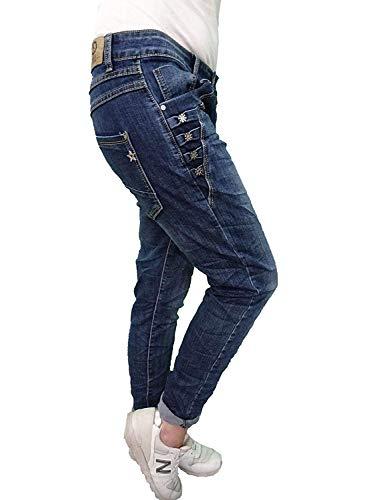 Karostar by Lexxury Denim Stretch Baggy Boyfriend Jeans Boyfriend 4 Botones Abierta Cierre de Botones más Colores Denim Flores, L 40