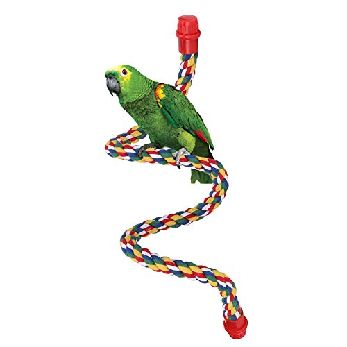Percas de Cuerda para pájaros, Perca de Cuerda en Espiral para pájaros, Columpio de Loro de algodón Escalada de pie Juguetes de Jaula de Loro (L)