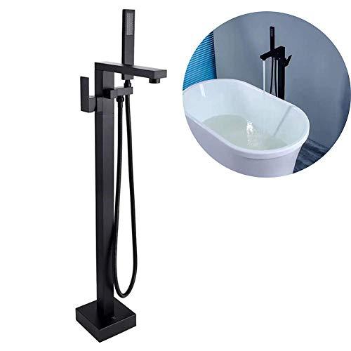 Vrijstaande badmenggrepen gemonteerde staande badkuip-armatuur eengreepsmengkraan met handdouche-olie van de geraspte badkamerdriehoekige chroom. zwart
