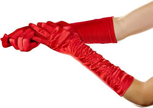 Balinco Lange Glamour Handschuhe in den Farben schwarz, weiß & rot zum 20er Jahre Damen Charleston Kostüm (Rot)