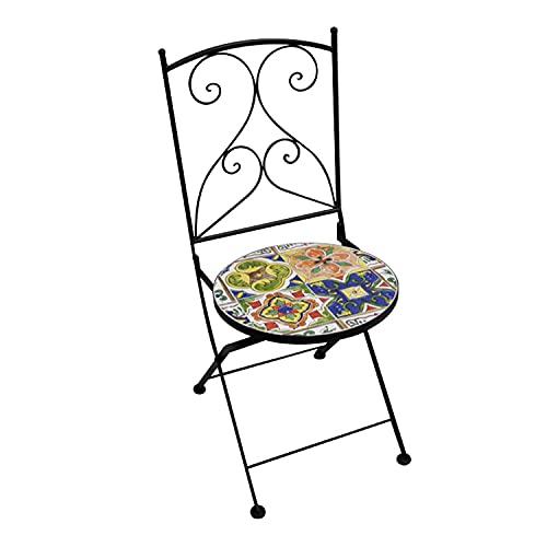 Sedia in ferro battuto 38x92x38 cm modica Multicolore