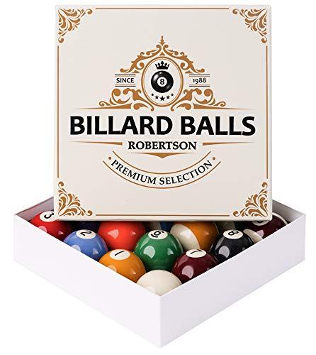 Robertson Premium Billardkugeln Pool 57,2 mm für EIN perfektes Spielergebnis, entsprechen mit der Größe und dem Gewicht den Turnier-Vorgaben, mit einem Gratis Billardset