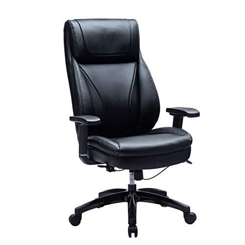 Kasorix Bürostuhl aus Leder mit Einstellbarer Breite und Höhe - Computertisch und Stuhl mit Metallrückenlehne mit hoher Rückenlehne und Verstellbarer Ober- und Unterarmlehne (Schwar-9105)