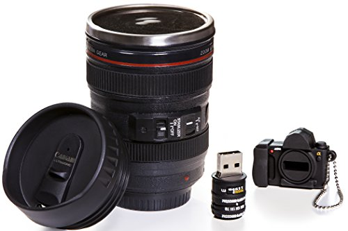 Camera Lens Coffee Mug, 13.5 Oz :: Exact Replica of Canon EF 24-105mm Lens :: Comes with 16GB USB Flash Drive :: Durable PVC & Stainless Steel :: Great Gift Set for Photographers by Indie Camera Gear