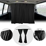 OMAC Van Cab Divider Curtains Campervan Sunshade Kit   Van Accessories 2 pcs. Curtains 1pcs. Profiles Screws 54'x71' (Black)