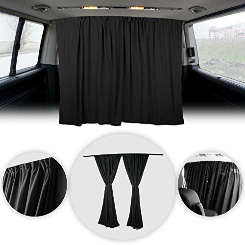 "OMAC Van Cab Divider Curtains Campervan Sunshade Blinds Kit Black | Van Accessories 2 pcs. Curtains 1pcs. Profiles Screws 63""x71"" (Black)"
