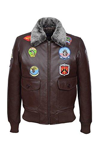 Chaqueta de cuero para hombre 'TOP Gun Brown' Jet Fighter Bomber Navy Air Force Pilot