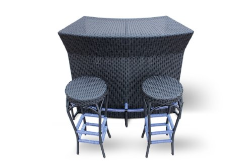 Hot Sale Aether, 3 Pcs Bar Set By Luxus Outdoor Patio Furniture Set Dining Set Garden Table Chairs All Weather Wicker Garden Home Backyard Porch 2 Person Maintenance Free 2 Chairs Resin