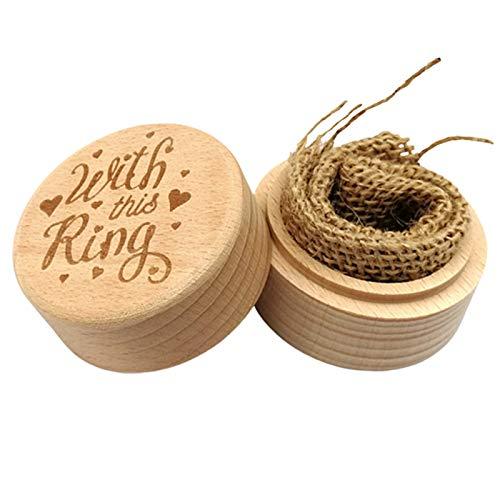 Caja de almacenamiento de joyería redonda tallada de madera para propuesta de compromiso, anillo de boda